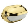 Outdoor Oval Lighting Fixture with Shield in Brass 23W Electronic, Diffuser in Etched and Heat-Resistant Moulded Glass